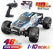 Rc Cars 110 High Speed 48+ Kmh 2.4ghz 4wd Off Road Truck Toys 2 Battery 40 Mins