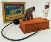 Celluloid Vintage Prewar Japan Lw Jumbo 'the Pet Of The Circus' Mechanical Toy