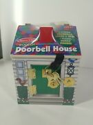 Melissa And Doug Wooden Doorbell House - New Ages 3+ 4 Bells, Locks, Keys, And Dolls