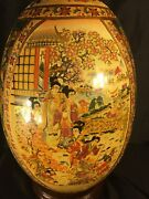 Very Large Japanese Satsuma Collectible Porcelain Egg With Wooden Base. 18andrdquo