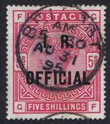 1884 Sgo9 5/- Rose Gf I.r.official Belfast Fine Used Expertised Cat. Andpound2400.00