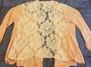 Xs Charlotte Russe Light Pink Waterfall Cardigan Lace Floral Back Quarter Sleeve