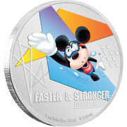 2020 Disney Mickey Mouse Faster And Stronger Swimming 1 Oz Silver Coin - 2000 Made