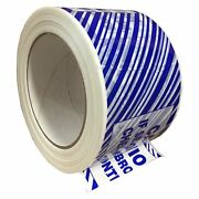 240 Rolls Tamper Evident Caution Printed Tape Blue Strips 1.9 Mil 72mm X 100m
