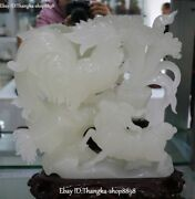 14 Natural White Jade Carving 12 Zodiac Chickens Fenghuang Sheep Goat Statue
