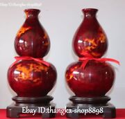 12and039and039 Super Taiwan Colored Jade Carving Gourd Flower Vase Bottle Statue Pair