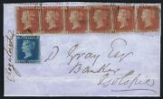 1841 1d Red Plate 175 Strip Of Six Je-jj And 2d Th Re-entry State 2 Cat. Andpound6500