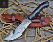 Damascus Handmade Gut-hook Bowie Knife Gift For Brother Thanks Giving Wk-30