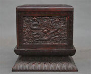 6 Old Chinese Huanghuali Wood Hand-carved 5 Dragon Ancient Seal Stamp Box Boxes