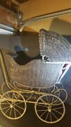 Vintage 1900 Rattan Wicker Baby Doll Carriage Antique