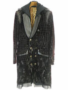 Black Honey Chili Cookie 17aw Croco Pattern Double-breasted Long Jacket Black 2