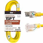 15 Foot Lighted Outdoor Extension Cord - 12/3 Sjtw Heavy Duty Yellow