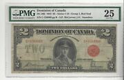 1923 Dominion Of Canada Dc-26b 2 Gr 1 Red Seal Sn C-156060 Pmg Vf-25