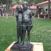 24and039and039 Bronze Sculpture Home Decorate Good Friend Two Boy Child Pal Crony Statue