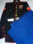 Marine Corps Dress Blues Blouse Andtrousers Enlisted 41 S Trousers 34 R Lcpl E-3