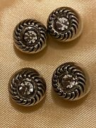 4 Antique Sparkling Silver And 1/2 Carat Rhinestone Buttons Vintage Rare Set Fancy