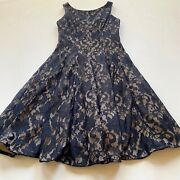 Eliza J Lace Cocktail Dress Size 4 Fit And Flare Lace Overlay Black Euc