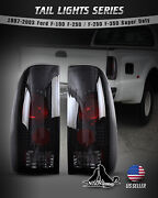 For 97-03 Ford F-150 F-250 F-350 Super Duty Tail Lights Styleside Black Smoke
