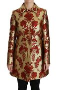 Dolce And Gabbana Jacket Coat Red Gold Floral Brocade Cape It44 / Us10/l Rrp 4400