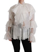 Dolce And Gabbana Top Silk White Lace Layered Long Sleeve Blouse It40/us6/s 3000