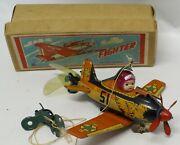 Vintage Nomura Tin And Celluloid Wind-up Fighter Plane 15a 7