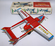 Vintage Tin Lithographed Friction Cessna Skymaster Airplane Aircraft Alps Japan