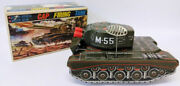 Rare 1950and039s Alps Japan Tin Battery Operated Cap Firing Army Tank Truck Toy