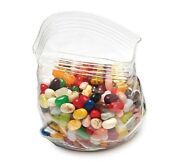Fred And Friends Unzipped Glass Zipper Bag Kitchen Desk Candy Snack Container Jar