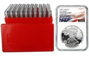 2020 S 1oz Silver Eagle Proof Ngc Pf69 Early Releases Flag Label 10 Pack