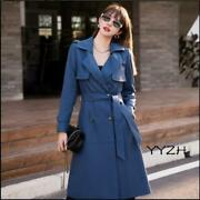 Womens Sheep Leather Elegant Winter Trench Coat Solid Jacket Overcoat With Belt