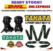 Takata 4 Point Snap-on 3 With Camlock Black Racing Seat Belt Harness Universal