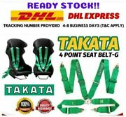 Takata 4 Point Snap-on 3 With Camlock Green Racing Seat Belt Harness Universal