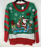 United States Sweaters Holiday Ugly Christmas Santa Rudolph On Bike Size S Nwt