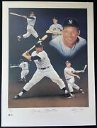 Mickey Mantle Signed Christopher Paluso Lithograph /250 Original Coa Yankees Bas