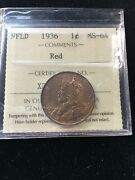 1936 Iccs Graded Newfoundland Andcent1 Large Cent Ms-64