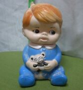 Sanitoy Vtg Squeaker Toy Little Boy Blue W/ Panda Bear 1950s Rubber Squeaky