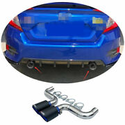 Steel Cf+blue Two Outlet Exhaust Muffler Tip Pipe Fit For Honda Civic 16-20 1.5t