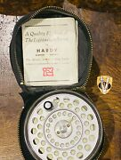 Vintage Hardy L R H Lightweight Alloy Trout Fly Reel With Line And Case