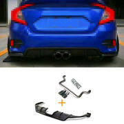Rear Bumper Canards Splitter 2-outlet Pipe Matte Fit For Honda Civic 2016-2020