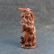 Old Chinese Boxwood Boutique Wood Carvings Moon Guanyin Feng Shui Furnishings