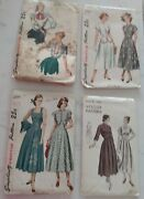 4 Vintage Women Clothing Sewing Patternssimplicity+vogue From Late 40and039 To 50and039s