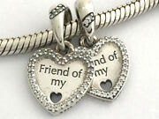 Authentic Pandora Hearts Of Friendship Silver And Clear Cz Charms, 792147cz, New