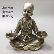 6.6collecting Qing Dynasty Tibetan Silver Buddhist Monk Candlestick Ornament
