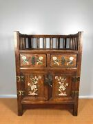 18.8 Antique Old China Huanghuali Wood Shell Inlay Flower Bird Chests