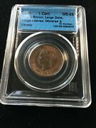 1891 Ll/ld Obv2 Cccs Graded Canadian Large One Cent Ms-65
