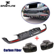 Carbon Fiber Rear Diffuser W/exhaust Tips For Benz W205 C300 C43 C63amg 15-17