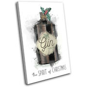 Christmas 2020 Festive Gin Illustration Single Canvas Wall Art Picture Print