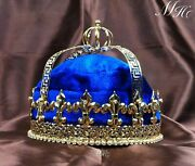 Blue Velvet Tiara Crown King Imperial Medieval Pageant Party Costumes For Men