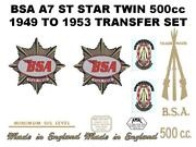 Bsa A7 St Star Twin 500cc 1949 To 1953 Transfers Set Classic Motorcycle
