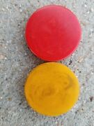 Vintage Rare Red And Butterscotch Bakelite Chip Backgammon Game